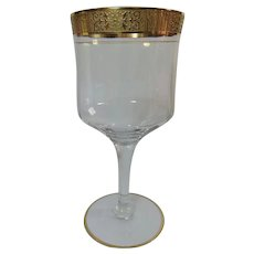Elegant Footed Goblets Optic Bowl Gold Etched Rim