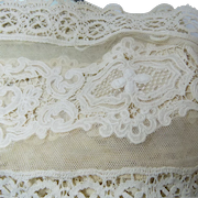 Antique Lace Attached to Linen Sheeting Curtain Circa 1900