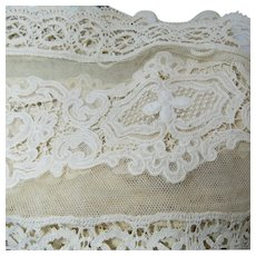 Elegant Antique Lace Attached to Linen Sheeting Curtain Circa 1900