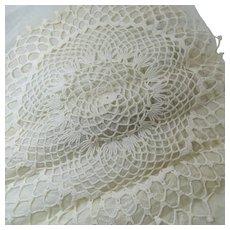 "Hand Crocheted 18"" Doily Blocked Unused Circa 1940s"