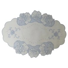 Doily Oval Mat Cutwork Embroidery Blue Roses Set 2