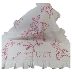 Redwork Sham with Ruffled Edge and Sweet Embroidery Saying