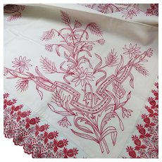 Pair Redwork Center Tablecloths  Circa 1880