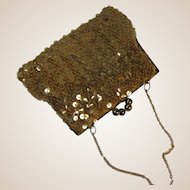 Evening Bag Covered In Golden Sequins Petite