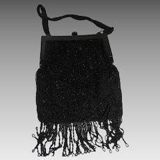 Black Beaded Handbag French Frame AS IS