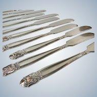Silver Individual Butter Knives Set 11 Holmes and Edwards Danish Princess