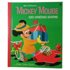 1953 NM Little Golden Book Mickey Mouse Goes Christmas Shopping