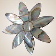 Taxco Abalone Sterling Signed Daisy Brooch Pendant
