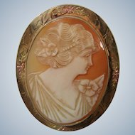 Natural Shell Carved Cameo in Gold Mount 1920s
