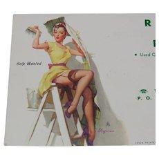 Pinup Art 1954 Advertising Ink Blotter