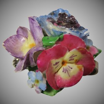 Porcelain Brooch Pin Petite Posies Made In England