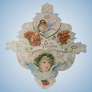 Antique Valentine Circa 1890-1910 Lacy Angelic