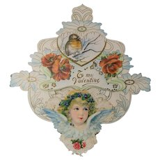 Antique Valentine Circa 1890-1910 Lacy Angelic