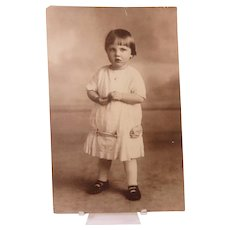 Large Photo of Sweet Little Girl in Summer Dress Circa 1912