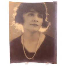Photograph Lovely Lady in Pearls Vintage Circa 1920s