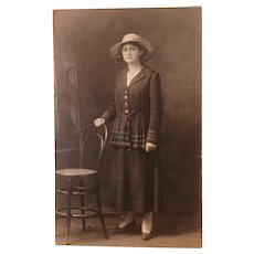 RPPC Young Woman Wearing the Fashion of the Day Circa 1912