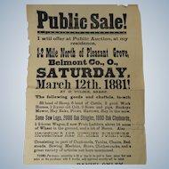1881 Public Sale Broadside Auction Held in Belmont County Ohio