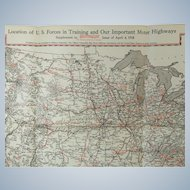 1918 Motor Age Magazine Map Insert Location of U.S. Forces