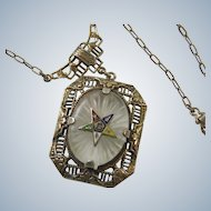 Sterling Filigree Camphor Glass Pendant Order of the Eastern Star