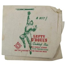 Lefty O'Douls Cocktail Bar San Francisco Paper Napkin