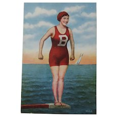 Bathing Beauty On The Diving Board Post Card