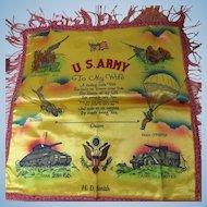 Military Souvenir Pillow Cover Guam October 1945