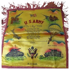 Military Souvenir Pillow Cover Guam October 1945
