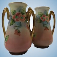 Hand Painted Pair of Vases 4 1/2 Inches Tall