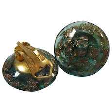 Murano Italy Clip Button Earrings
