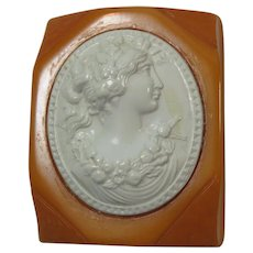 Butterscotch Bakelite and Celluloid Cameo Brooch