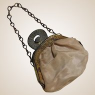 Tiny Doll Purse Beige Fabric With Chain