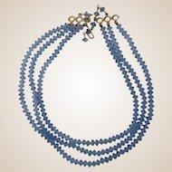 Aurora Borealis Three Strand Ice Blue Necklace
