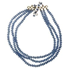 Aurora Borealis Three Strand Ice Blue Necklace