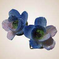 Blue Porcelain Clip On Earrings