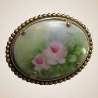 Brooch Beautifully Hand Painted On Oval Porcelain Pink Roses