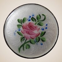 Round Enamel Brooch Pin Beautiful Rose on a White Background