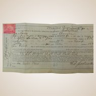 Promissory Note With Tax Stamp Dated 1900