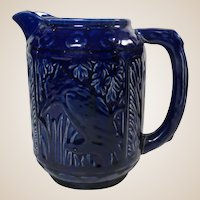 Weller 1920s Cobalt Blue Glaze Kingfisher Milk Pitcher Jug