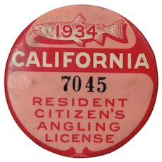 Fishing 1934 California Angling License Button
