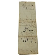 1856 Handwritten Power of Attorney Muscatine Iowa