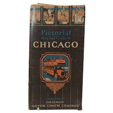 Clason Map Co Chicago Motor Coach Company Pictorial Map and Guide to Chicago