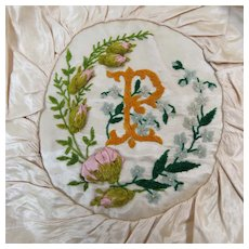 Silk 1890's Hand Embroidery Remnant Hat or Bag