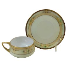 Cup and Saucer Hand Painted American Craft Circa 1920