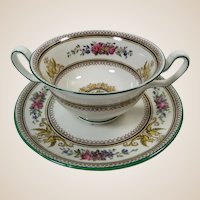 Wedgwood Columbia Footed Cream Soup and Saucer