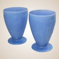 Jeannette Glass Co Two Blue Delphite Tumblers