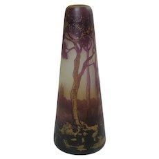 """Daum Nancy Cameo Glass Gilded 6"""" Tall Art Nouveau Vase"""