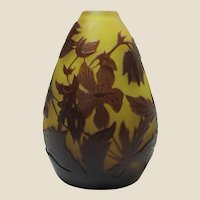 Emile Galle Art Nouveau Cameo Glass Vase