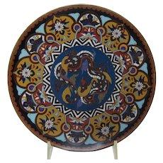 Japanese Meiji Period Cloisonne Bronze Plate
