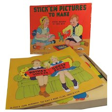 1937 Childrens Game Stick Em Pictures To Make
