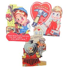"Valentine 1940s Working ""Men""From Classroom Valentine Box"